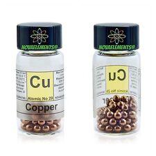 Copper metal element 29 sample 10 grams shiny pellets 99,99% glass vial + label