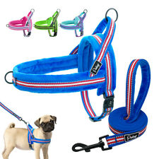 Reflective Nylon Dog Harness & Lead Set Soft Plush Padded Front Leading Harness