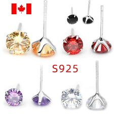 Pair sterling silver round crystal ear stud earring S925 jewelry woman accessory