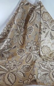 upholstery fabric /beige /black/ 1 yard / floral/ scroll