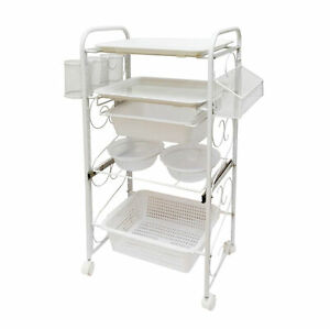 Rolling Beauty Cart Storage Cart Utility Cart Storage Bowl Tray Baskets