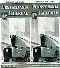 Pennsylvania Railroad, East-West passenger time table,  September 29, 1946