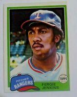 1981 Topps Fergie Jenkins - Rangers Card #158