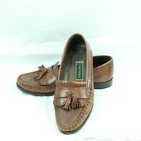 Cole Haan Mens Shoes Resort Brown Woven Leather Kiltie Tassel Loafers size 10 B