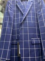 New 42L Men's SLIM Blue Plaid Suit 100% Wool Super 150 Made in Italy Ret/$1295
