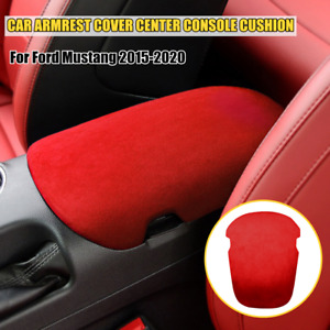 1PCS Leather Turn fur Car Armrest Box Panel Cover Fit For Ford Mustang 2015-2020