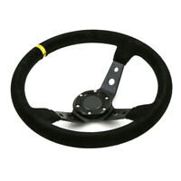 350mm Deep Dish 6 Bolt Steering Wheel JDM Racing Track Drift Suede Leather