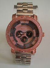 Mens hip hop Rose Gold/Silver finish TECHNO ICE Rapper Club style fashion watch