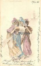 GLAMOUR WOMAN WINTER HAND MITTS AUSTRIA TRAIN CANCEL POSTCARD 1900