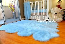 5' x 6' Baby Blue Sheepskin Pelts Nursery Boy Rug Shaggy Flokati Area Rugs