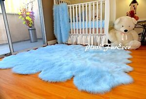 5' x 6' Octo Baby Blue Sheepskin Pelts Nursery Boy Rug Shaggy Flokati Area Rugs