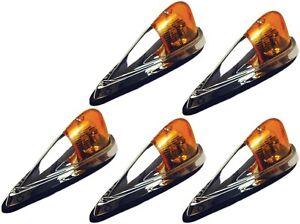 5 Amber Truck Lights CHROME Cab Marker Lamps Peterbilt