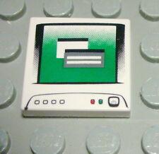 Lego Fliese - Kachel 2x2 Weiss bedruckt mit Monitor                      (504 #)