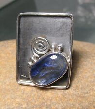 925 sterling silver blue kyanite large lipped setting ring UK O½-¾/US 7.75