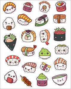 Kawaii Sushi sticker sheets, planner stickers