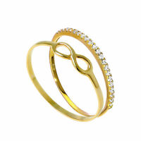 Real 375 9ct Gold Infinity & Eternity Stacking Rings Set Valentines Forever