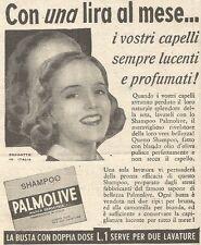 Y3008 Shampoo PALMOLIVE - Capelli lucenti... - Pubblicità del 1939 - Old advert