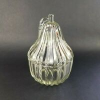 Pear Shaped Candy Jar & Lid Trinket Box Candle Holder Pressed Glass