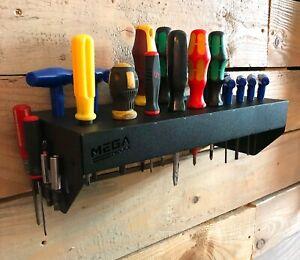 20 Slot Screwdriver Holder Storage Unit Wall Mounted DIY Garage Home Shed  Black