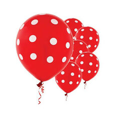 "6 Red White Polka Dot Spotty Birthday Party 12"" Printed Latex Balloons"