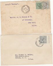 # 1915/33 2 x CASTRIES St LUCIA PMK COVERS TO USA 1 PER S S KORONA - MARITIME