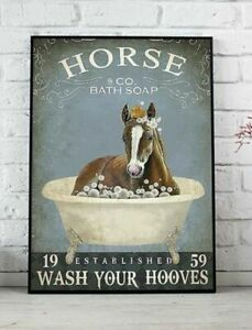 Horse Wash Your Paws Poster, Bathroom Decor, Home Decor, Wall Hanging, No Frame