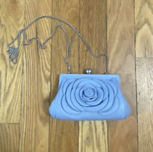 Brighton My Michelle Clutch Blue Leather Rose Crossbody Bag MSRP$195