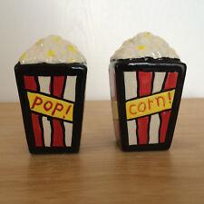 Popcorn Salt Pepper Shakers Set Red White Yellow Ceramic Stokes