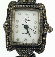 Vintage Art Deco Sterling Silver Marcasite Quartz Womans Ladies Watch Modern
