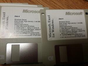 "9 pk Vintage 3.5"" Floppy Disks Microsoft Excel for Windows Version 5.0"