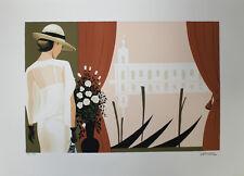 Serge Vergez   Elégante au vase de roses   Litografia color  Firmada a mano