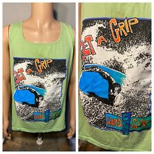 Vintage Get a Grip Hardcore surf Tank top Surfing 80s Made in USA Lime Green rad