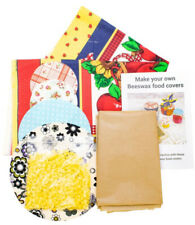Beeswax Food Cover wrap Kit makes 5 antibacterial, waterproof and eco-friendly