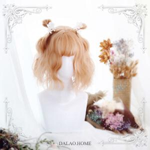 Harajuku Sweet Lolita Cosplay Warm Orange Curly Hair Woman's Party Daily Wig