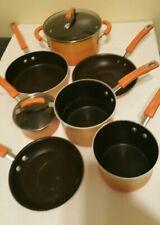 Rachel Ray 8 Piece Stainless Steel Cookware Set Pots Pans Orange Handles
