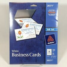 New Avery Ink Jet Printer Matte White Business Cards 28371 100 Cards