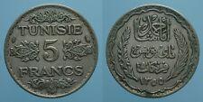 TUNISIA 5 FRANCHI AH 1355/1936 (a) AHMAD PASHA BB 2