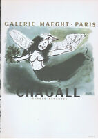 Marc Chagall Galerie Maeght  Poster Lithograph 10'' x 14'' 1966 Platesigned