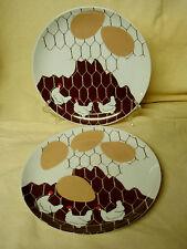 LOT 2 Vintage 1980 Dennis Kyte Design Studio Chicken Egg Farm Salad Lunch Plates