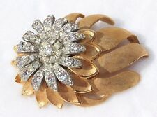 Stunning 60's Gold Clear Rhinestones Flower Pin Brooch BOUCHER DEMARIO COROCRAFT