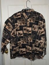 Men's Bit & Bridle Outfitters Long Sleeve Shirt with Cowboys & Horses Size 2X