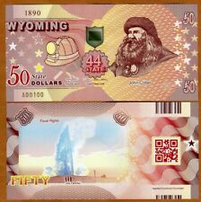 USA States, Wyoming, $50, Polymer, ND (2020) > John Colter, Old Faithful