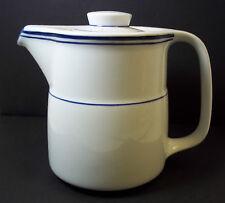 Vitrified porcelain teapot white blue bands Monnolite 3.5 cups DW oven safe