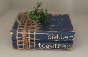 """""""Better Together"""" Wooden Stacked Books Decor Farmhouse Style"""
