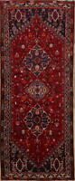 One-of-a-kind Geometric Tribal Abadeh Oriental Hand-Knotted 4'x9' Red Runner Rug