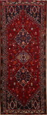 One-of-a-kind Geometric Tribal Abadeh Persian Hand-Knotted 4'x9' Red Runner Rug