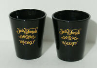 Jack Daniels Whiskey Shot Glass Black with Gold letters Lot of 2
