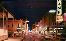1959 Third Street at Night, Baton Rouge, Louisiana Postcard
