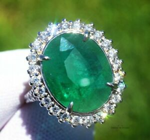 Emerald Ring Gold Diamond Natural Zambian 10.29CT GIA Certified RETAIL $16100