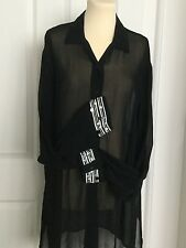 GLAMOROUS BEACH/POOL PARTY BLACK SHEER COVER-UP BEADED/SEQUIN DETAIL - SIZE L